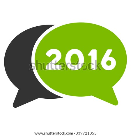 2016 Forum glyph icon. Style is bicolor flat symbol, eco green and gray colors, rounded angles, white background. - stock photo