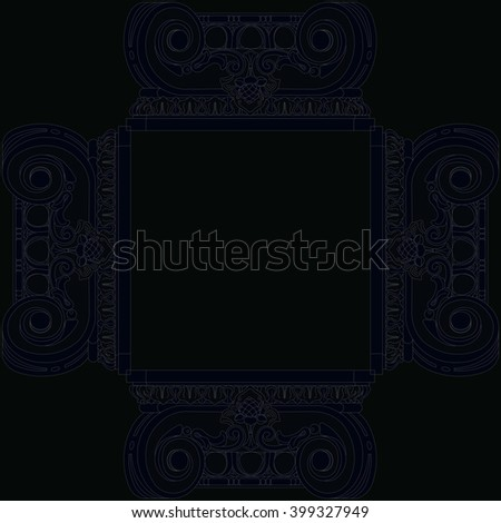 frame pattern on the basis of the capitals Ionic columns - stock photo