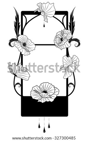 frame with flowers of  poppy in black and white colors - stock photo