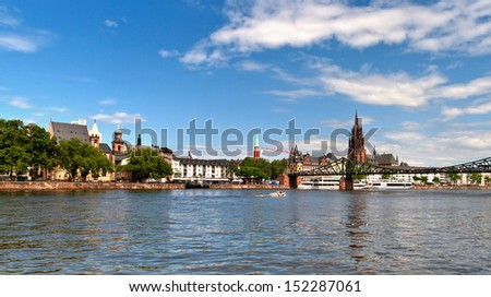 Frankfurt cityscape seen through the Main River, Germany - stock photo