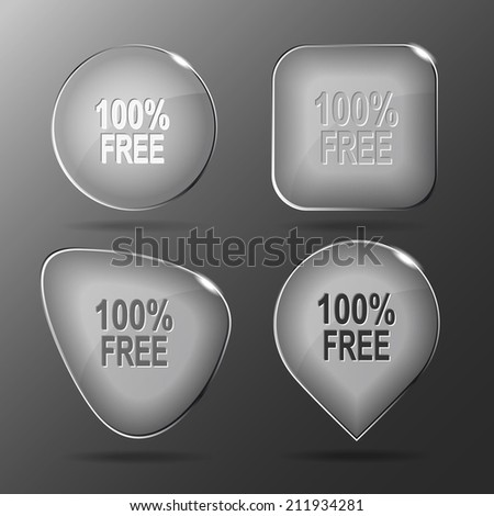 100% free. Glass buttons. Raster illustration.