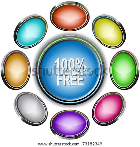 100% free. Internet icons. Raster illustration.