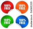 100 free sticker - stock photo