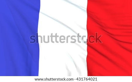 French flag, close up, 3D render  - stock photo