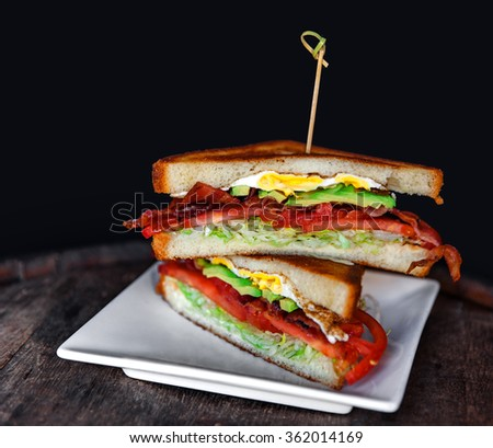 fresh and juicy sandwich, bacon, fried egg and avocado - stock photo