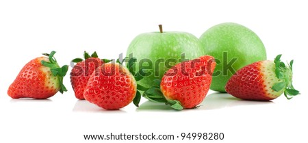 Fresh apples and strawberry  isolated on a white background - stock photo