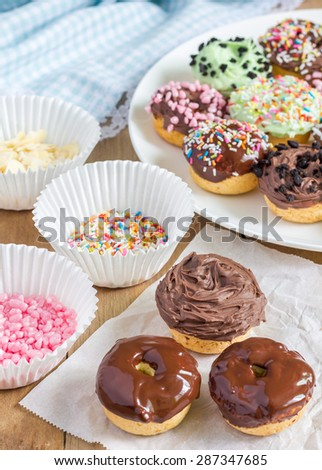 Fresh baked homemade mini donuts - stock photo