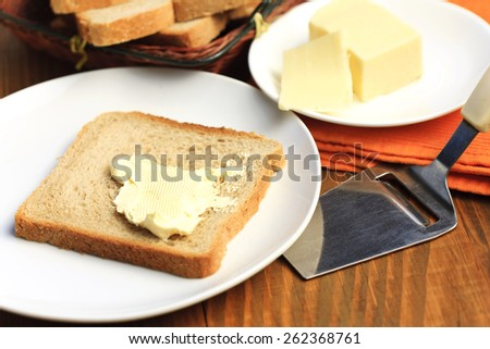 fresh cheese and bread - stock photo