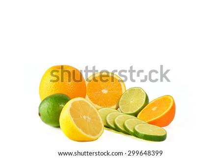 Fresh citric fruit isolated on white background  - stock photo