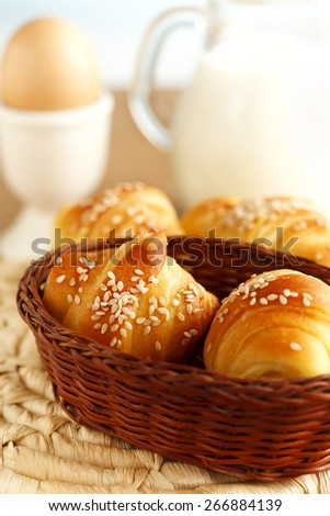 fresh croissants for breakfast - stock photo