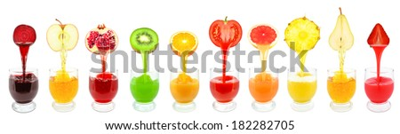 Fresh fruit juices from flowing into the glass  - stock photo