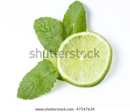 fresh lime with leaf mint isolated on white