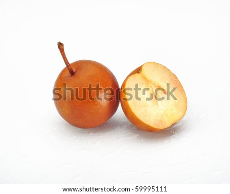 fresh Loquats isolated on white background - stock photo