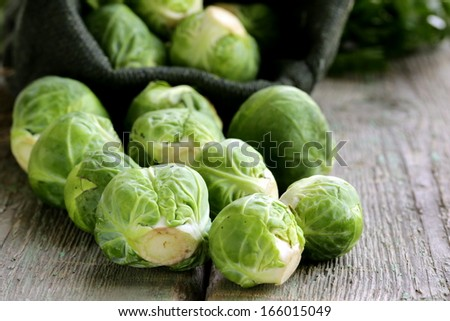 fresh raw organic green brussel sprouts