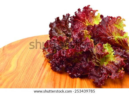 Fresh red lettuce isolated on white. - stock photo