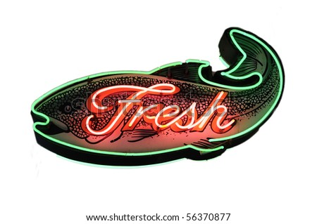 """Fresh"" salmon fish neon sign - stock photo"