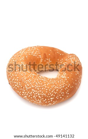 Freshly Baked Bagel with Sesame Seeds - stock photo