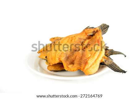 Fried Dried Fish isolated on white background