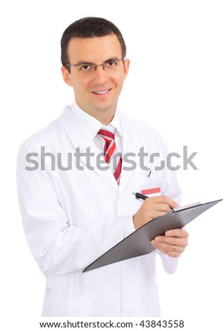 Friendly medical doctor write some  on paper pad. Isolated
