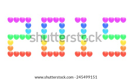 2015 from rainbow heart candy isolated on white background - stock photo