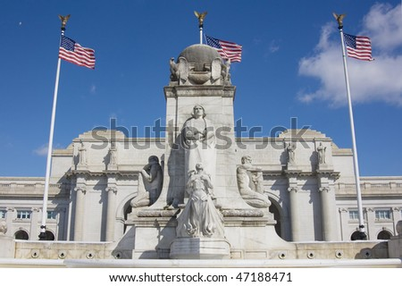 Front view of Union station with statue of Columbus in Washington DC - stock photo