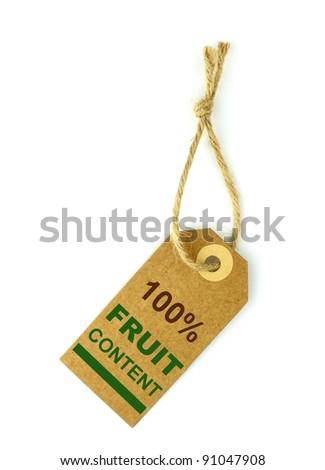 100% Fruit content label - stock photo
