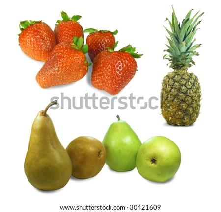 3 Fruit Isolation - stock photo