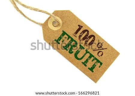 100% Fruit Label - stock photo