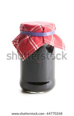 fruity jam in glass jar - stock photo
