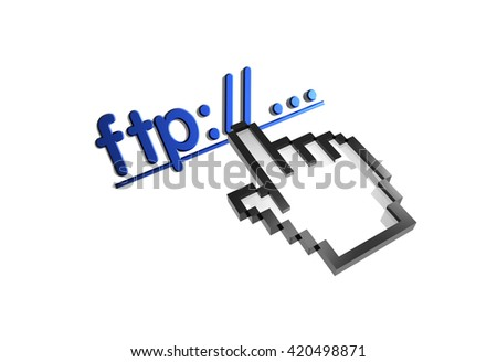 """""""ftp://...."""" 3d rendered inscription. Link and finger, pointer. Isolated on white - stock photo"""