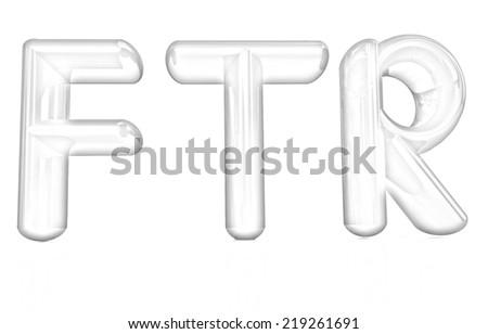 """FTR"" 3d text. Pencil drawing  - stock photo"
