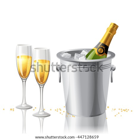2 full glasses and a bottle of champagne in a bucket with ice