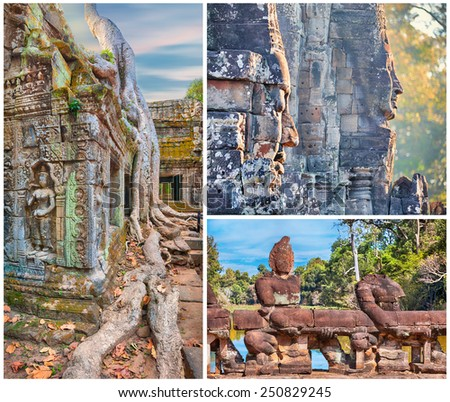 3 full size images collage.Ta Prohm temple and Bayon statues - stock photo