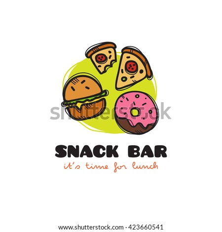 funny cartoon style snack bar logo with burger, pizza and donut. Sketchy doodle cafe logo - stock photo