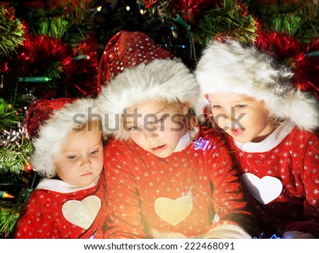 Funny christmas kids - stock photo