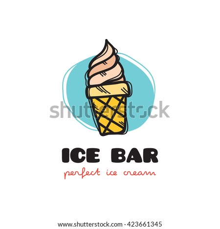 funny doodle style ice cream logo. Sketchy cafe logo - stock photo
