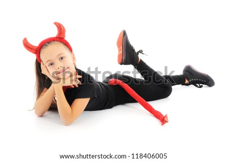 FUNNY GIRL IN CARNIVAL COSTUME - stock photo
