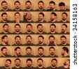 36 funny portraits of a man with a beard pulling faces. - stock photo