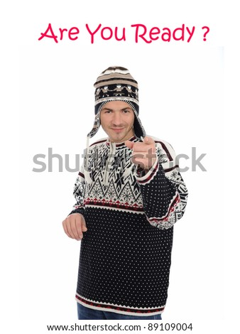 Funny winter man in warm hat and clothes - stock photo