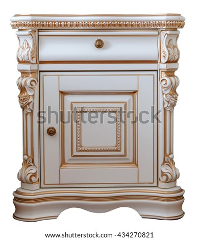 furniture in classic style. white tree with gold trim. patina. carving. luxury furniture with element woodcarving. white nightstand. isolated on the white background - stock photo