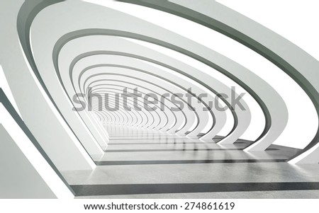 Futuristic exterior pathway structure under modern arcs architecture background. clipping path included - stock photo