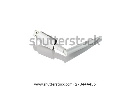 3g and 4g usb wireless and  mobile modem isolated on white background - stock photo