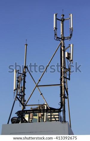 4G Cell site, Telecom radio tower or mobile phone base station - stock photo