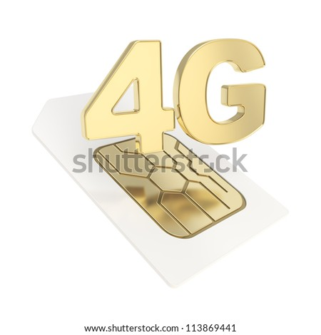 4G circuit microchip SIM card emblem isolated on white background - stock photo