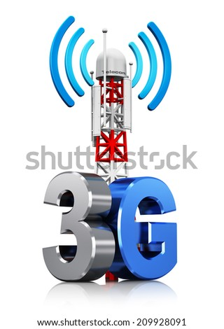 3G digital cellular telecommunication technology and wireless connection business concept: mobile base station or TV transmitter antenna pylon with 3G sign, symbol or logo isolated on white background - stock photo