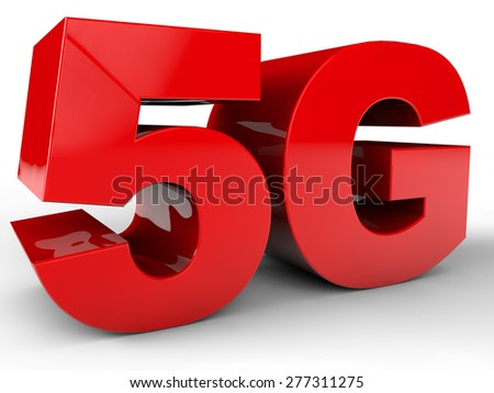 5G GSM Network Sign over white Background - stock photo