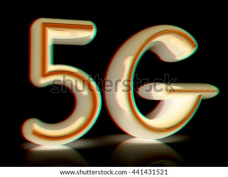 5g internet network. 3d text. On a black background. 3D illustration. Anaglyph. View with red/cyan glasses to see in 3D. - stock photo