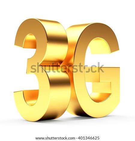3g mobile wireless communication symbol isolated on white background. 3d illustration - stock photo