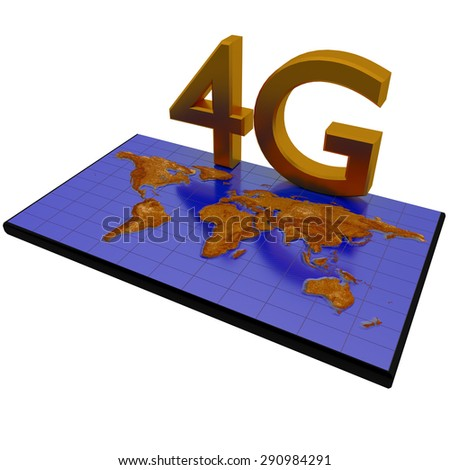 4G network poster on world map background - stock photo