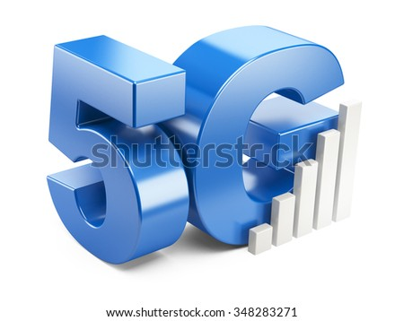 5G sign. High speed mobile web technology. 3d illustration isolated on a white background.